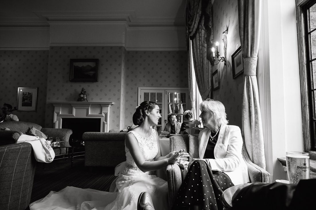 Bride talking with grandmother