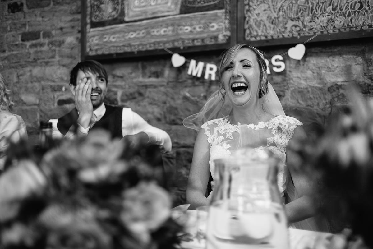 Oakwell Hall Wedding Nicola & Andy bride laughing