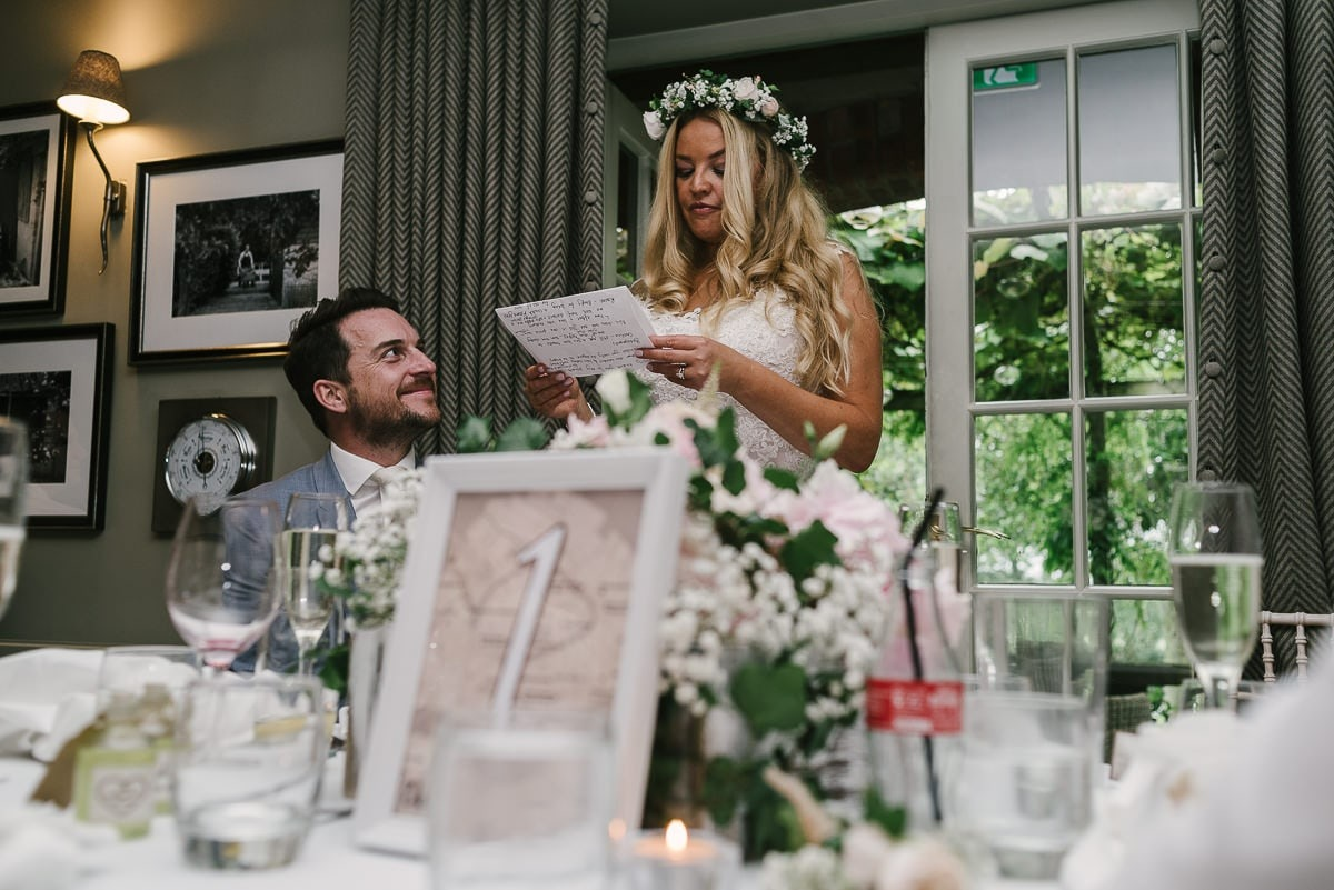 Bride making a speech at The Pheasant, Harome
