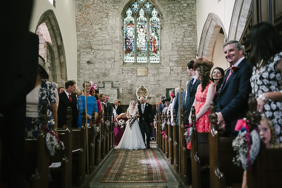 St peter's church Croft wedding bride in the aisle